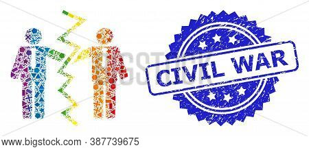 Bright Colorful Vector Businessmen Divorce Collage For Lgbt, And Civil War Unclean Rosette Seal. Blu