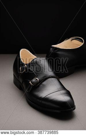 Male Classic Shoes. Elegant Black Monk Shoes. Fashion Leather Shoes