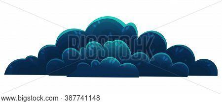 Dark Blue Shrub, Forest Vegetation. Cartoon Flat Style Mixed Forest Shrubs. Hazel, Hawthorn, Juniper