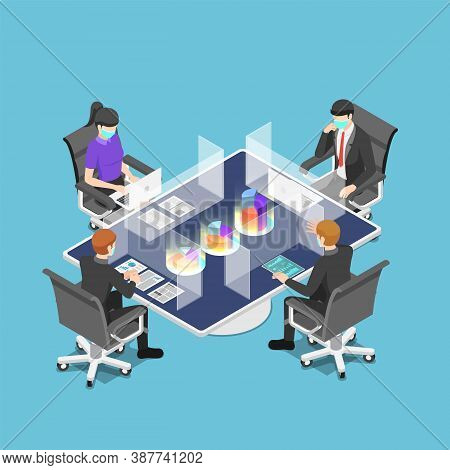 Flat 3d Isometric Business Team Meeting With Clear Glass Partition And Wearing Mask After Pandemic O