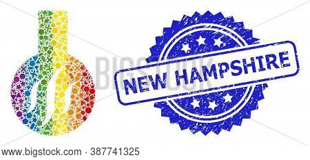 Rainbow Colorful Vector Chemical Aroma Mosaic For Lgbt, And New Hampshire Corroded Rosette Seal. Blu