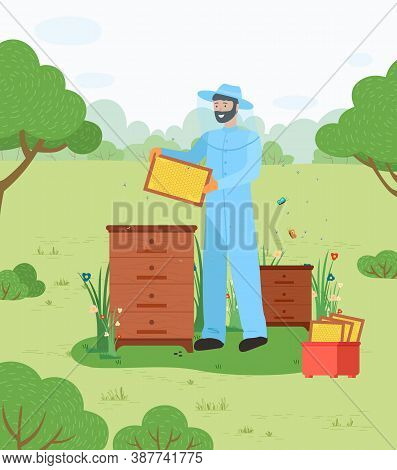 The Beekeeper In Hat With Blue Protective Mesh And Overalls Holds A Frame With Honeycombs In The Gre