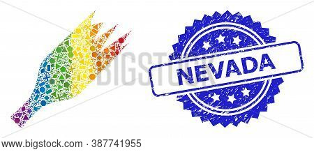 Bright Colorful Vector Broken Wine Bottle Mosaic For Lgbt, And Nevada Dirty Rosette Seal. Blue Stamp