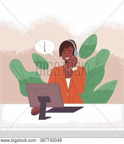 Dark-skinned Girl Operator Call Center Or Hotline. Girl In Headphones Sits At Computer And Helps Cli