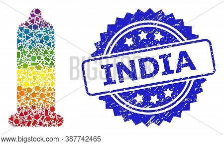 Rainbow Vibrant Vector Condom Mosaic For Lgbt, And India Rubber Rosette Stamp Seal. Blue Stamp Has I