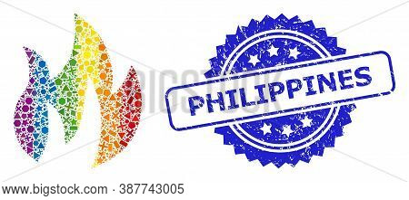 Spectrum Vibrant Vector Fire Collage For Lgbt, And Philippines Corroded Rosette Seal Imitation. Blue