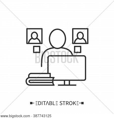 Publicist Icon. Person Working On A Computer With Notes, Books, Other People. Journalist Who Writes