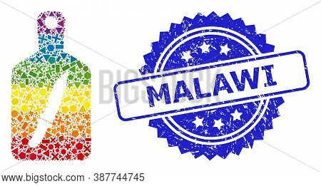 Rainbow Colorful Vector Cutting Board Collage For Lgbt, And Malawi Corroded Rosette Seal Print. Blue