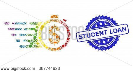 Bright Colored Vector Credit Time Collage For Lgbt, And Student Loan Unclean Rosette Seal Print. Blu