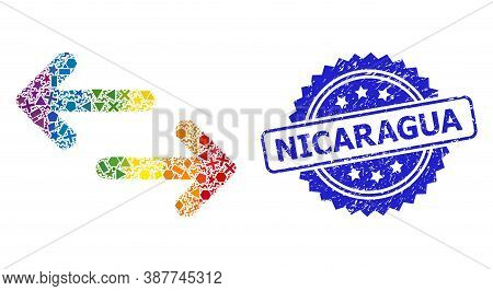 Bright Colorful Vector Exchange Arrows Mosaic For Lgbt, And Nicaragua Dirty Rosette Seal Print. Blue