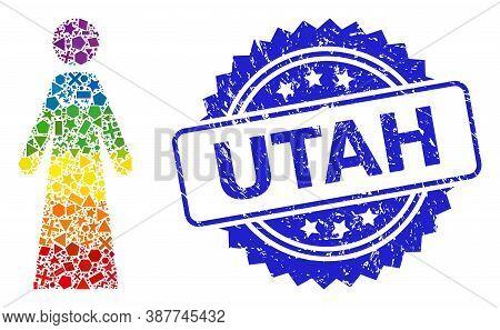 Bright Vibrant Vector Bride Mosaic For Lgbt, And Utah Rubber Rosette Seal. Blue Stamp Seal Has Utah