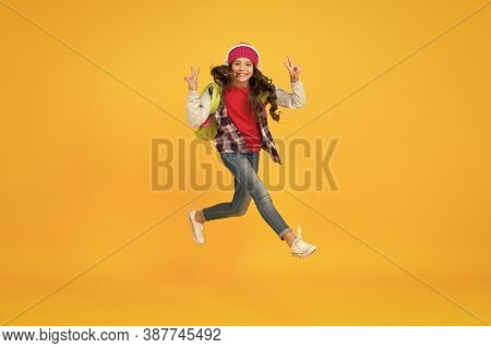 Finally Vacation. Little Girl Listen Music In Headphones. Small Schoolgirl Running To School. Hurry