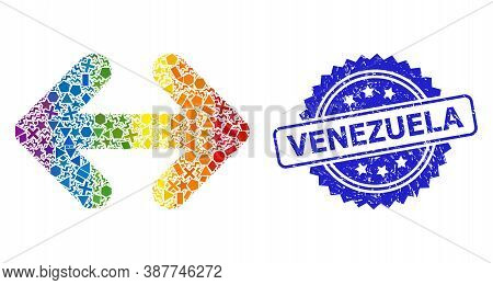 Bright Colorful Vector Exchange Arrows Horizontally Collage For Lgbt, And Venezuela Unclean Rosette