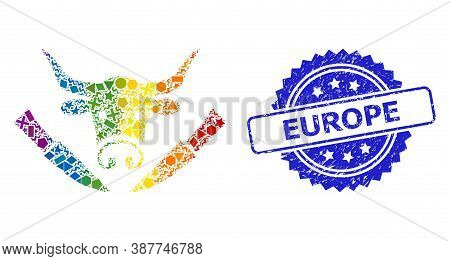 Spectrum Vibrant Vector Cow Butchery Collage For Lgbt, And Europe Rubber Rosette Stamp Seal. Blue St
