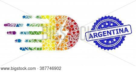 Bright Vibrant Vector Electricity Collage For Lgbt, And Argentina Corroded Rosette Stamp Seal. Blue