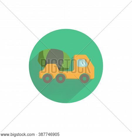 Concrete Mixer Truck Colorful Flat Icon With Long Shadow. Concrete Car Flat Icon