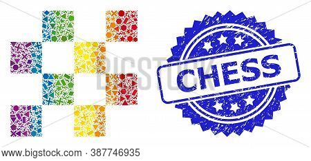 Bright Colored Vector Chess Cells Mosaic For Lgbt, And Chess Textured Rosette Stamp Seal. Blue Seal