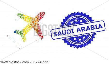 Rainbow Colored Vector Flying Air Liner Mosaic For Lgbt, And Saudi Arabia Scratched Rosette Seal Imi