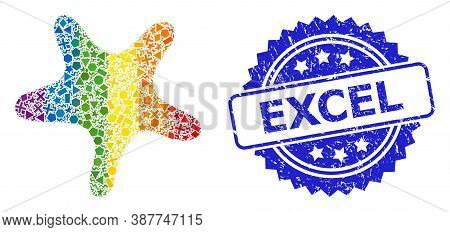 Spectrum Vibrant Vector Bent Star Mosaic For Lgbt, And Excel Dirty Rosette Seal. Blue Stamp Seal Con