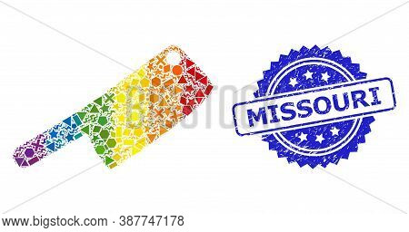 Spectrum Vibrant Vector Butchery Knife Collage For Lgbt, And Missouri Textured Rosette Seal. Blue Se
