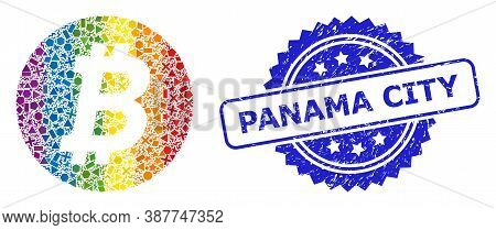Spectrum Vibrant Vector Bitcoin Coin Collage For Lgbt, And Panama City Textured Rosette Stamp Seal.