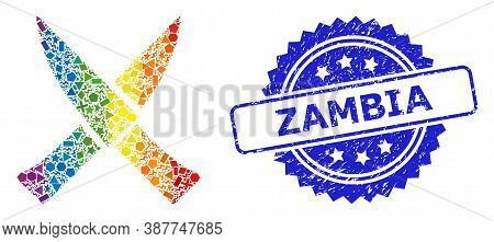 Spectrum Colorful Vector Crossing Knives Mosaic For Lgbt, And Zambia Grunge Rosette Stamp Seal. Blue