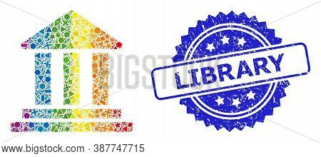 Rainbow Colored Vector Bank Building Collage For Lgbt, And Library Corroded Rosette Stamp Seal. Blue