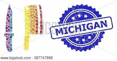 Bright Colored Vector Butchery Knives Mosaic For Lgbt, And Michigan Unclean Rosette Stamp Seal. Blue