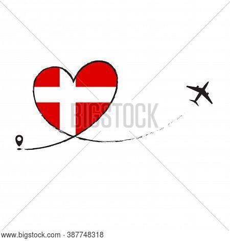 Flag Of Denmark Love Romantic Travel Plane Airplane Airplane Airplane Flight Fly Jet Airline Line Ve