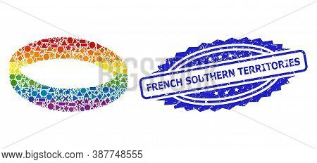 Rainbow Vibrant Vector Gold Ring Mosaic For Lgbt, And French Southern Territories Scratched Rosette
