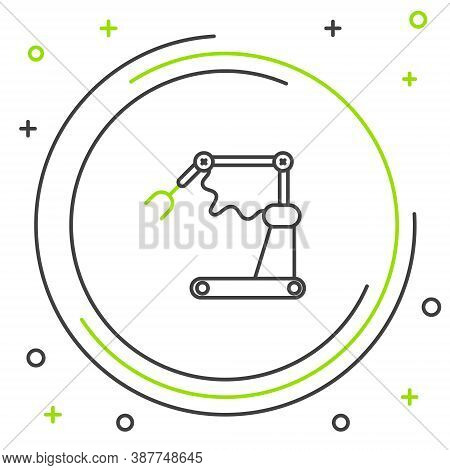 Line Industrial Machine Robotic Robot Arm Hand Factory Icon Isolated On White Background. Industrial