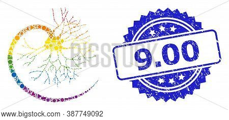 Bright Colored Vector Neuron Mosaic For Lgbt, And 9.00 Grunge Rosette Stamp. Blue Stamp Contains 9.0