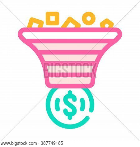 Advertising Traffic Filtration Money Color Icon Vector Illustration
