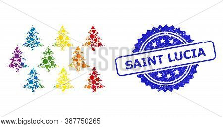 Bright Colorful Vector Fir Forest Mosaic For Lgbt, And Saint Lucia Scratched Rosette Seal. Blue Stam