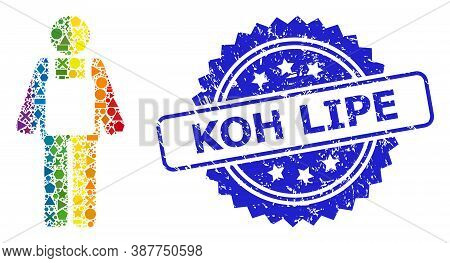 Rainbow Vibrant Vector Worker Person Collage For Lgbt, And Koh Lipe Dirty Rosette Stamp Seal. Blue S