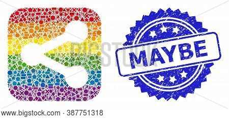 Rainbow Colored Vector Share Mosaic For Lgbt, And Maybe Corroded Rosette Stamp Seal. Blue Stamp Seal
