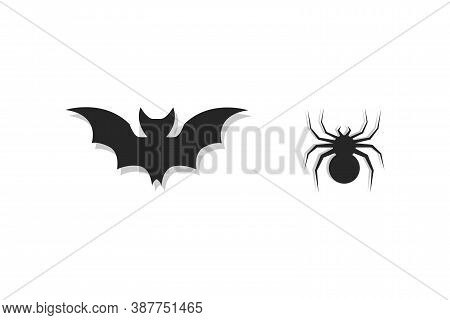 Spider And Bat Icons For Halloween Party. Isolated Bat And Spider Silhouette In Black Color On White