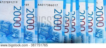 Russian Rubles, Money Background. Financial Crisis, Ruble Devaluation Concept.