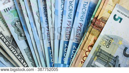 Us Dollars, Euro, Russian Ruble And Kazakh Tenge, Money Background. International Financial Crisis,