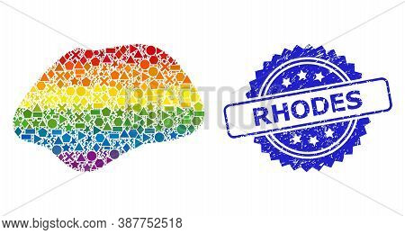 Rainbow Vibrant Vector Spot Simple Collage For Lgbt, And Rhodes Rubber Rosette Stamp. Blue Stamp Inc