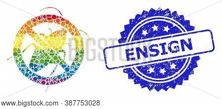 Bright Vibrant Vector Stop Cockroach Mosaic For Lgbt, And Ensign Dirty Rosette Stamp Seal. Blue Stam