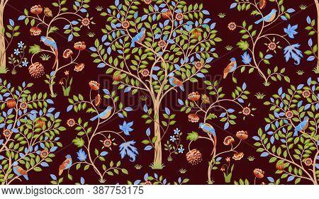 Fantasy Tree With Birds Seamless Ornament On Burgundy Background. Green Foliage, Tropical Birds, Par