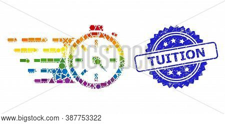 Bright Colorful Vector Timer Mosaic For Lgbt, And Tuition Scratched Rosette Seal Print. Blue Stamp S