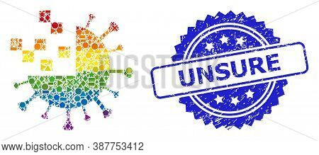 Bright Vibrant Vector Synthetic Virus Mosaic For Lgbt, And Unsure Grunge Rosette Stamp Seal. Blue St