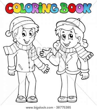 Coloring book kids theme 1 - vector illustration.