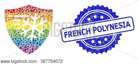Rainbow Colorful Vector Frost Protection Mosaic For Lgbt, And French Polynesia Scratched Rosette Sea