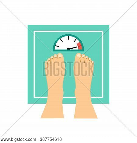 Man Or Woman Feet On A Weight Device In Flat Design. Overweight Concept Vector Illustration On White