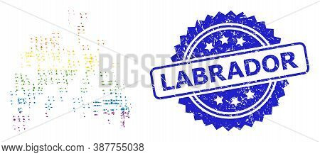 Bright Colored Vector Sand Swarm Mosaic For Lgbt, And Labrador Grunge Rosette Stamp Seal. Blue Seal