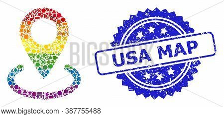Bright Colored Vector Location Mosaic For Lgbt, And Usa Map Rubber Rosette Stamp. Blue Stamp Seal Ha