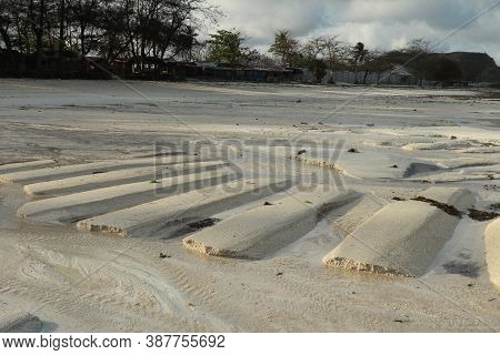 The Coastal Strip At Low Tide. A Desert Area With Wet Sand, A Wavy Relief Runs Along It. Close Up. R